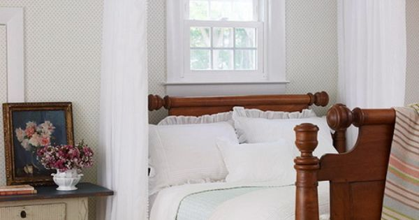 Frame a headboard with a canopy to draw the eye up to the ceiling a simple swag of fabric - Canopy bed without frame ...