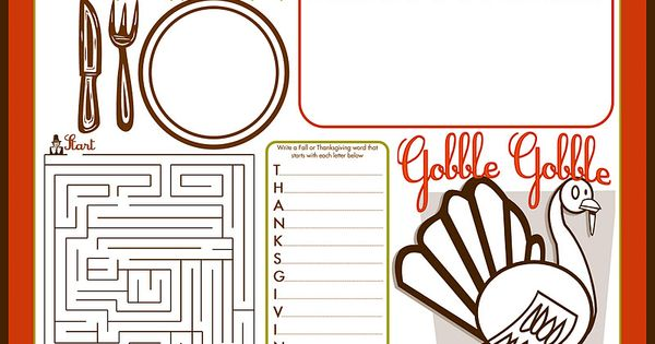 Neat FREE printables for Turkey Day (placemats for kids, place cards for