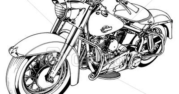 stock illustration classic 50s motorcycle stock