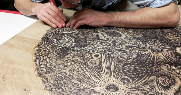 """The Moon"", a giant woodcut in progress, by Tugboat Printshop."