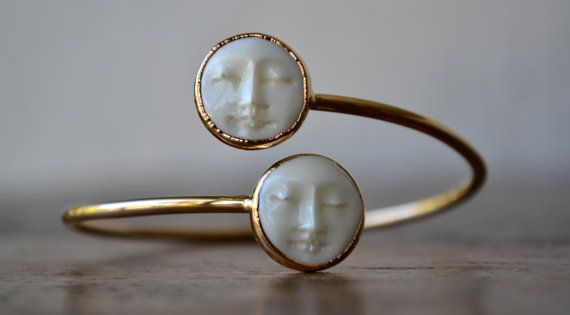 MAN In The MOON Bangle /// Electroformed Carved Bone Moon /// Gold///