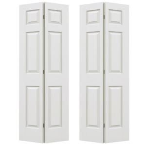 Jeld Wen 72 In X 80 In Colonist Primed Textured Molded Composite Mdf Closet Bi Fold Double Door Thdjw160600158 Bifold Doors Old Closet Doors Bifold Closet Doors