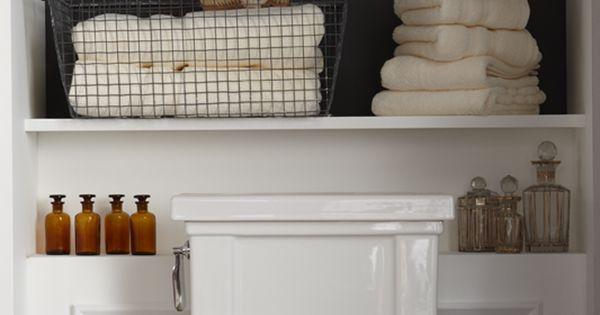 bathroom shelves for half bath... Powder room and master bath