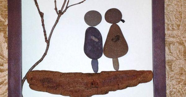 Stone Art Wedding Gift : wedding gift Stone art by madebynatureandme rock art, pebble art ...