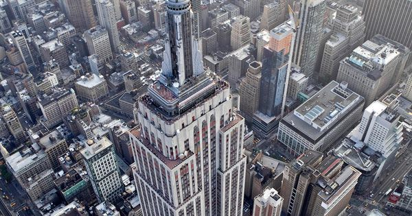 The Empire State Building stands in this aerial photograph taken over New