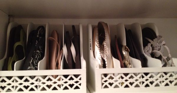 flip flop organizer for closet - use letter organizers OR could use