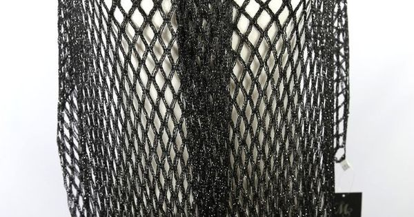 B95 Metallic Weave Shawl Scarf Wrap Fringe Opem Weave Formal Event Black