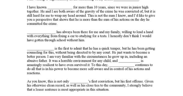 Character Reference Letter For Sentencing - Hashdoc