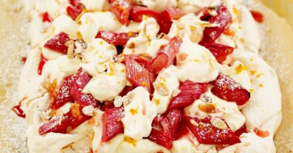 Almond Cake Recipe Jamie Oliver: Tray-baked Meringue With Rhubarb, Cream And Toasted