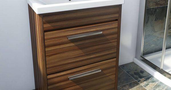 Smart walnut floor mounted 500 drawer unit basin for Bathroom cabinets victoria plumb