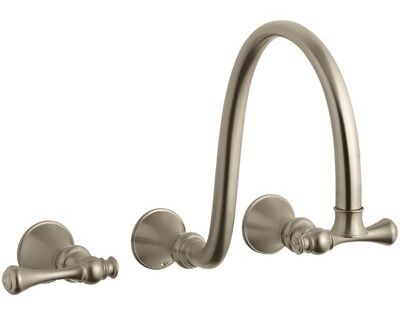 Kohler Revival Wall Mount Bathroom Sink Faucet Trim With Traditional Lever Handles And 12 Spout Requires Valve Finish Vibrant Brushed Bronze Roman Tub Faucets Faucet Wall Mounted Bathroom Sinks