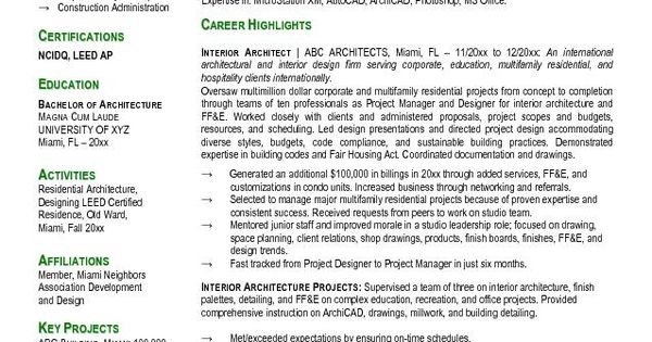 Free Interior Design Resume Templates resume samples - architect resume samples