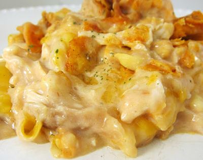 Doritos Cheesy Chicken Casserole -recipe adapted to serve 2: 1 c. cooked