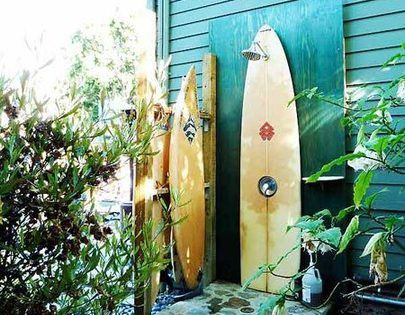 #Surfboard shower ... perfect for the beach house! outdoor shower beach cottage