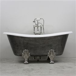 The Lanercost 73 Cast Iron French Bateau Clawfoot Tub Package