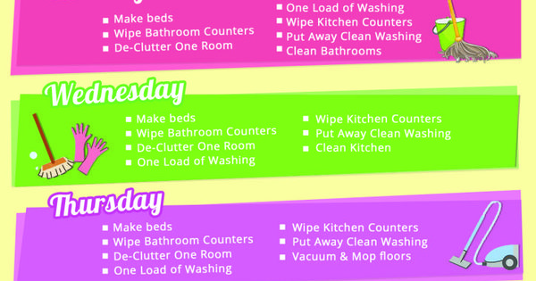 Daily Cleaning Schedule from Stay at Home Mum cleaning schedule housekeeping