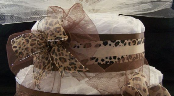 2 tier Cheetah Diaper Cake Baby shower by Beyonddiapercakes, Not sure about