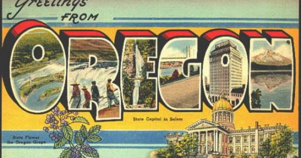 "Oregon Coast Greetings From Postcard 10/"" x 7/"" Retro Look Metal Sign ZK50"
