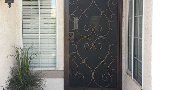 Scrolled Hearts Wrought Iron Security Screen Door