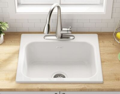American Standard Quince 25 L X 22 W Drop In Kitchen Sink In 2020 Drop In Kitchen Sink Top Mount Kitchen Sink Farmhouse Sink Kitchen