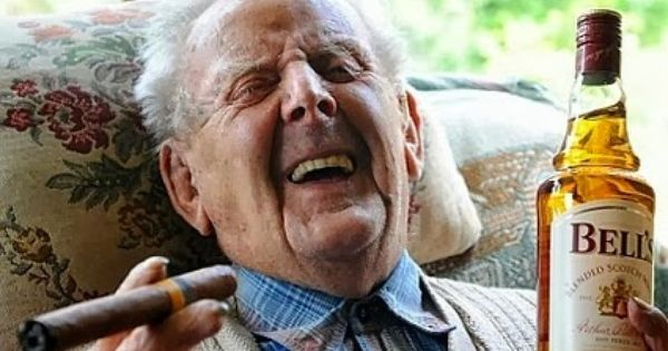 Life Is Good, Old Man Laughing, With Cigar And Whiskey