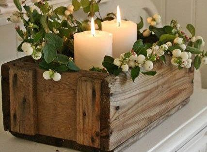 Centro de mesa navide o muy r stico ideas decoracion - Centro de mesa rustico ...