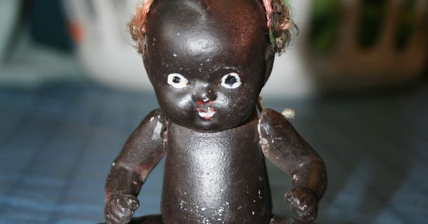 Vintage Bisque Black African American Jointed Kewpie Doll