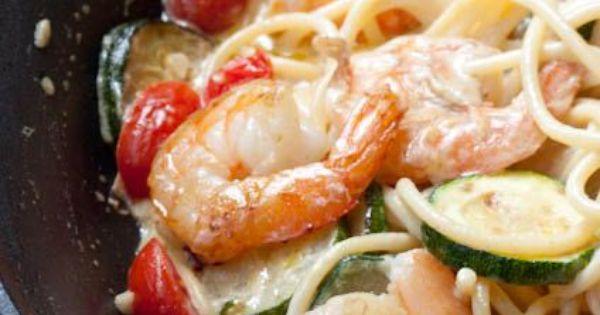 20-Minute Creamy Shrimp Pasta with Seasonal Vegetables. | Food ...
