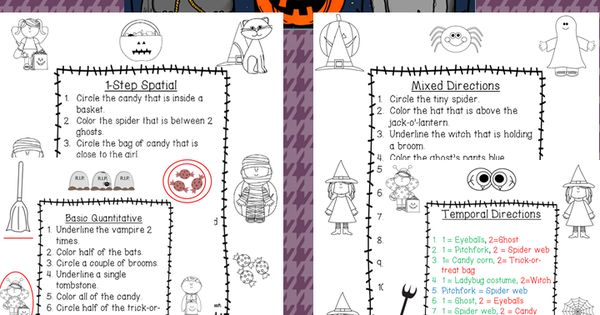 halloween following directions worksheets back to back to school and student. Black Bedroom Furniture Sets. Home Design Ideas