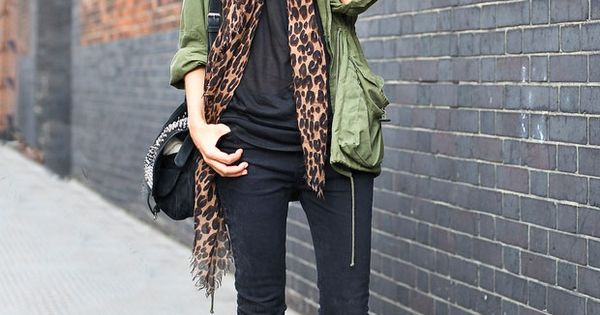 Army jacket, leopard scarf, black jeans, black boots....gotta get a big soft