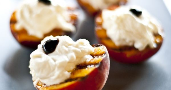 Grilled Peaches with Balsamic Glaze & Burrata Cheese