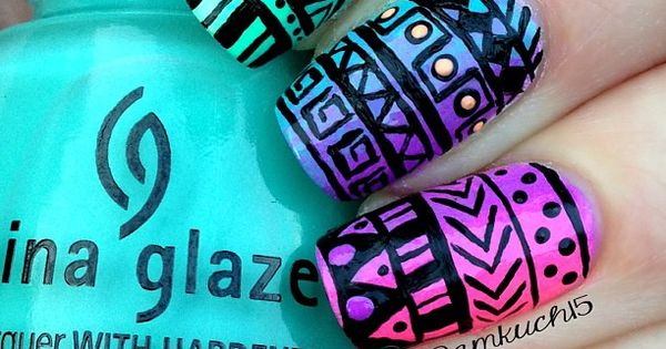 amazing aztec nail art design