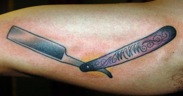 Tattoo old school traditional nautic ink razor for Straight edge razor tattoo