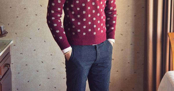 Patterned Red Sweater and Slim Pants