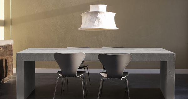 Betonlookdesign betonlook tafel met rechthoekig blad beton cire betonlook tafel gemaakt - Eigentijdse keuken tafel ...