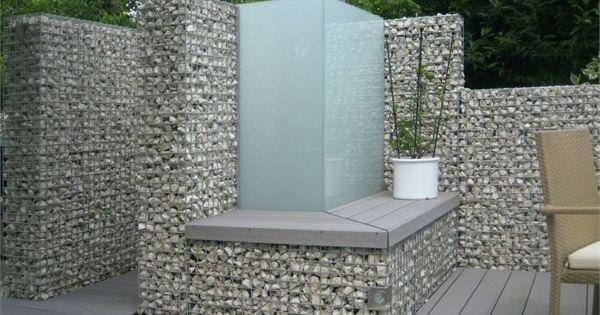 Douche exterieur en gabions muret et massif en gabions for Douche exterieur design