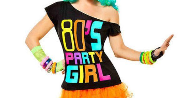 K72 80s' Party Girl T-shirt Costume Ladies 1980s 80s Fancy ...