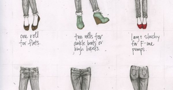 Basic cheat sheet on jean and shoe pairing. howto