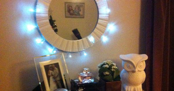 christmas lights around my vanity mirror vision board pinterest christmas lights. Black Bedroom Furniture Sets. Home Design Ideas
