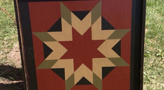 star barn quilt patterns pictures | PriMiTiVe Hand-Painted Barn Quilt, Framed 2'