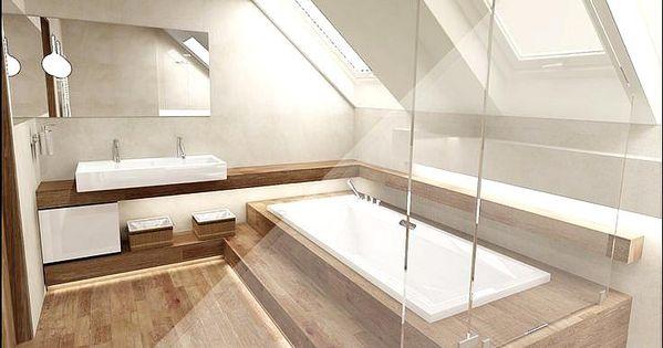 Badezimmer Mit Dachschrage Komplett Mit Fliesen In Holzoptik Badezimmer Holz Badezimmer Mit Dachs In 2020 Badezimmer Dachschrage Badezimmer Dachgeschoss Badezimmer