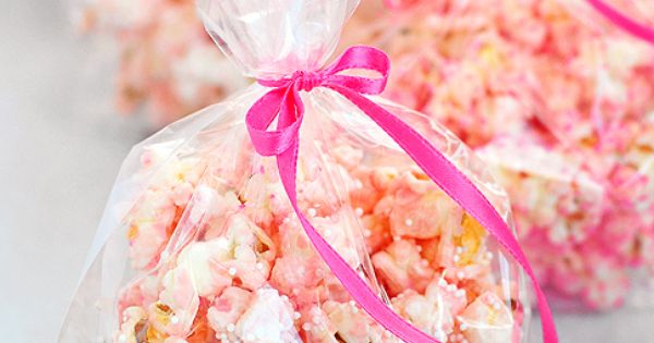 pink popcorn as party favors. Baby showers Idea