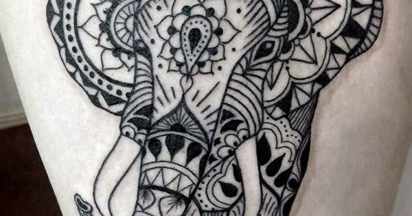 Mehndi influenced elephant tattoo