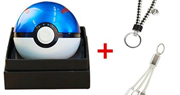 Bking Box Pokemon Go Great Ball 12000mah Power Bank Usb Dual Battery Poke Ball Travel Portable Charger With Led Light Keychain And 2 In 1 Multiple Usb Chargin Portable Charger Powerbank