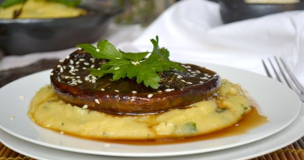 Creamy polenta topped with balsamic portobello