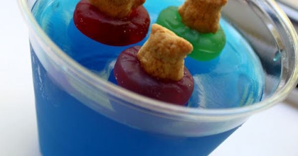 teddy grahams in gummy lifesaver preservers in blue jello. Super cute summer