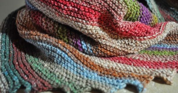Knitted Scarf Patterns Using Sock Yarn : noro Taiyo sock yarn hitchhiker scarf Knitting patterns ...