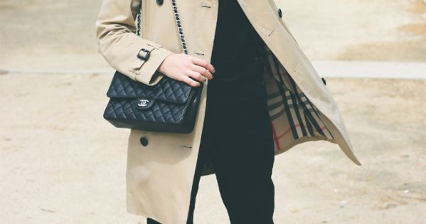 Trini | Burberry trench, Topshop dungarees, The Kooples shirt, Chanel flats and