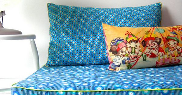 instead of bean bags in the kids' rooms? or in addition? loving the piping and small throw ...
