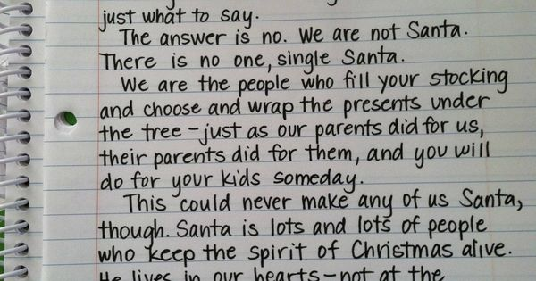 Santa// Letter explaining Santa to big kids. For the future....